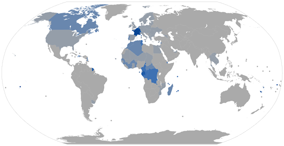 Proportion_of_French_speakers_by_country_in_2014_(0-100%25_gradation).svg